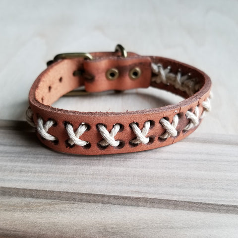 Vintage Woven Leather Cuff Bracelet X-Pattern 005B* - The Jewelry Junkie