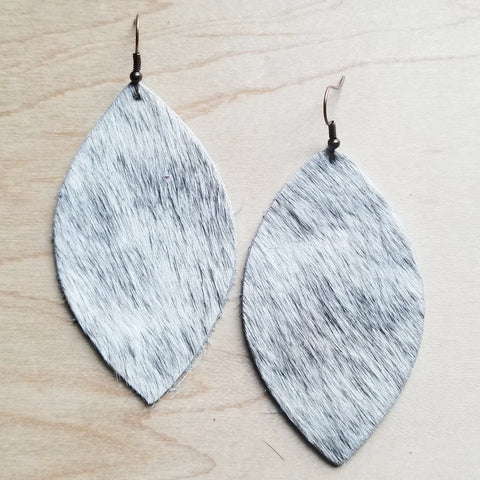 Leather Oval Earrings in White and Gray Hair-on-Hide 221v - The Jewelry Junkie
