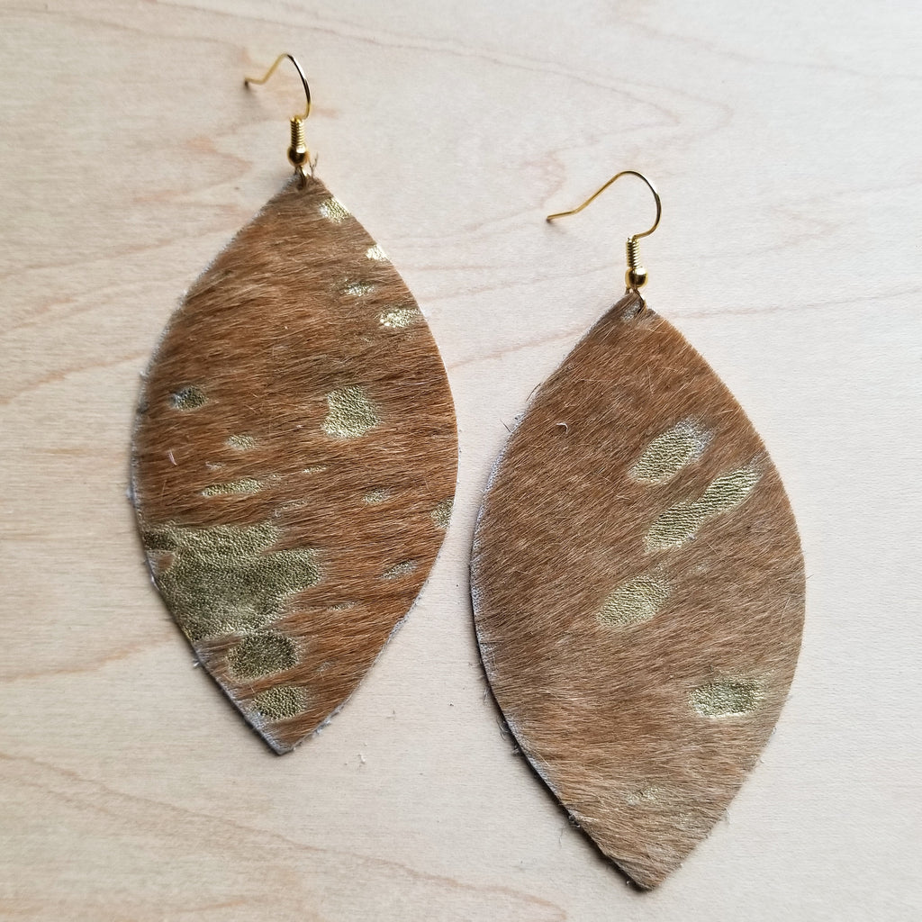 Leather Oval Earrings in Tan and Gold Metallic Hair-on-Hide 221t - The Jewelry Junkie