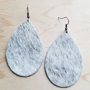 Leather Teardrop Earrings in White and Gray Hair-on-Hide 221y