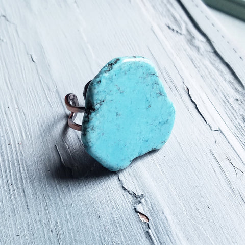 Blue Turquoise Slab Ring 012H - The Jewelry Junkie