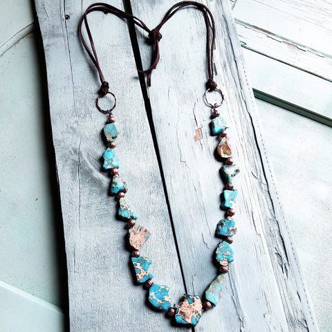 **Chunky Blue Regalite Beaded Necklace 229H