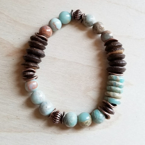 Aqua Terra and Wood Bracelet 239B - The Jewelry Junkie