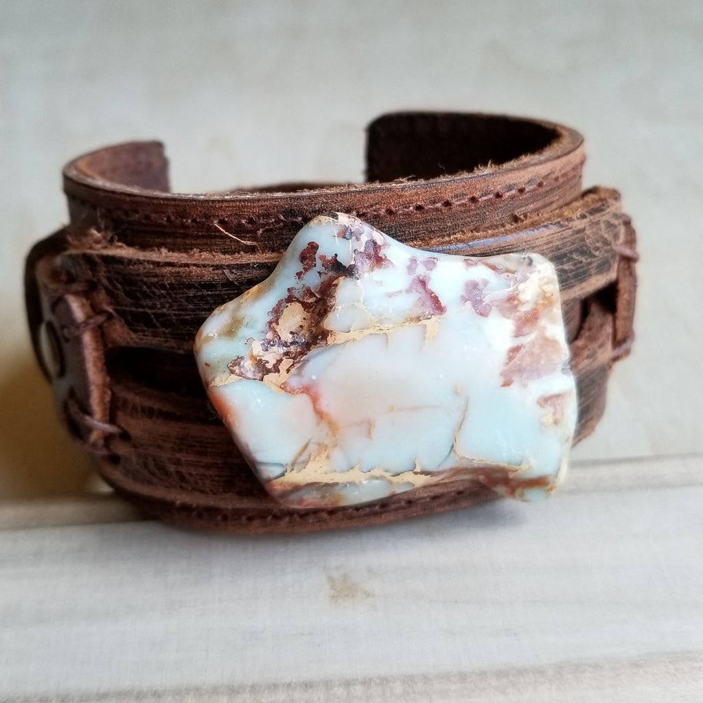 Aqua Terra Slab on Dusty Leather Cuff Bracelet 006a - The Jewelry Junkie