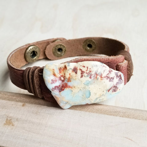 Aqua Terra Slab on Narrow Leather Cuff Bracelett 006c - The Jewelry Junkie