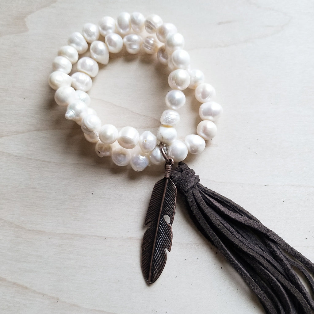 Double Strand GENUINE PEARL Bracelet With COPPER FEATHER 052D* - The Jewelry Junkie
