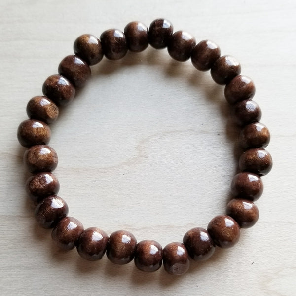 Bracelet Bar -Large Wood Beaded Stretch Bracelet 800o* - The Jewelry Junkie