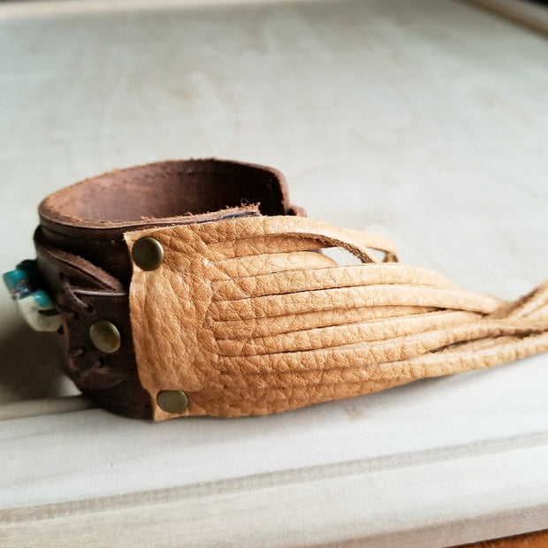 Dusty Leather Cuff with Turquoise Regalite Gemstone Chunks 006d 1