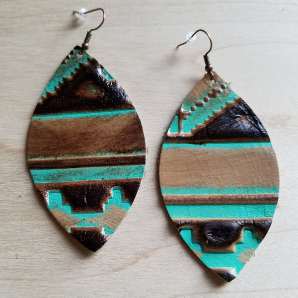 Leather Oval Earrings in Navajo 217f - The Jewelry Junkie