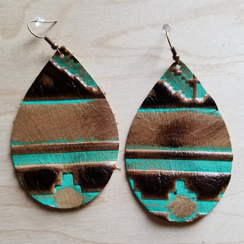 Leather Teardrop Earrings in Navajo 217n - The Jewelry Junkie