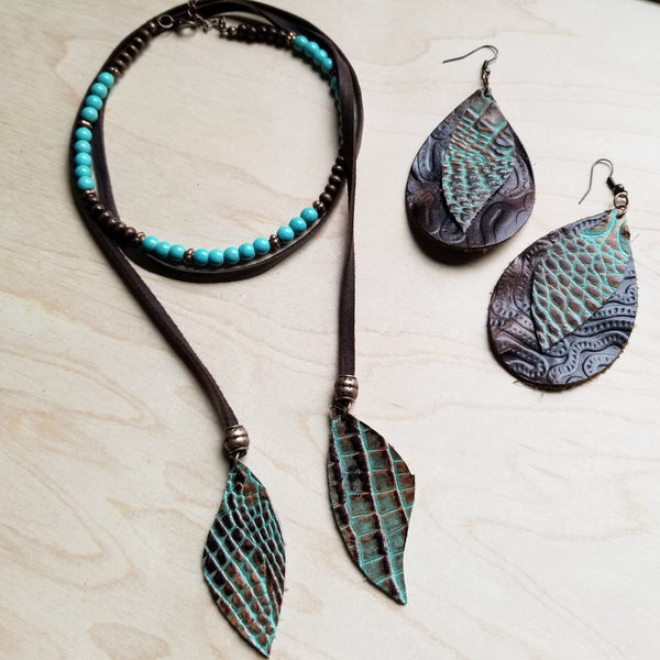 Leather Teardrop Earrings with Brown and Turquoise Gator Accents 218a - The Jewelry Junkie