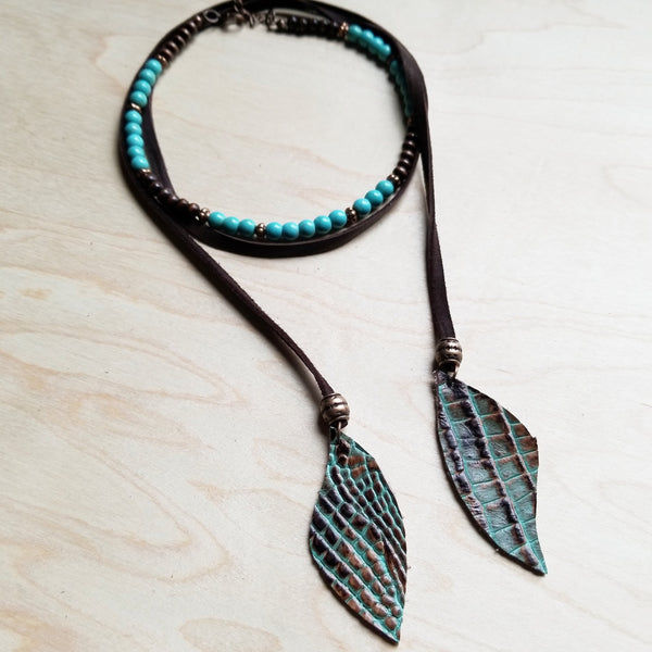 Blue Turquoise Choker Necklace 230G - The Jewelry Junkie