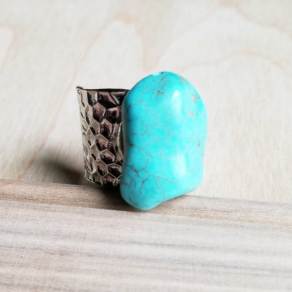 Turquoise Chunk on Cuff Ring  012o - The Jewelry Junkie