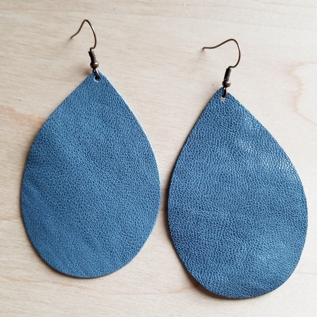 **Leather Teardrop Earrings-Light Blue Leather 217s - The Jewelry Junkie
