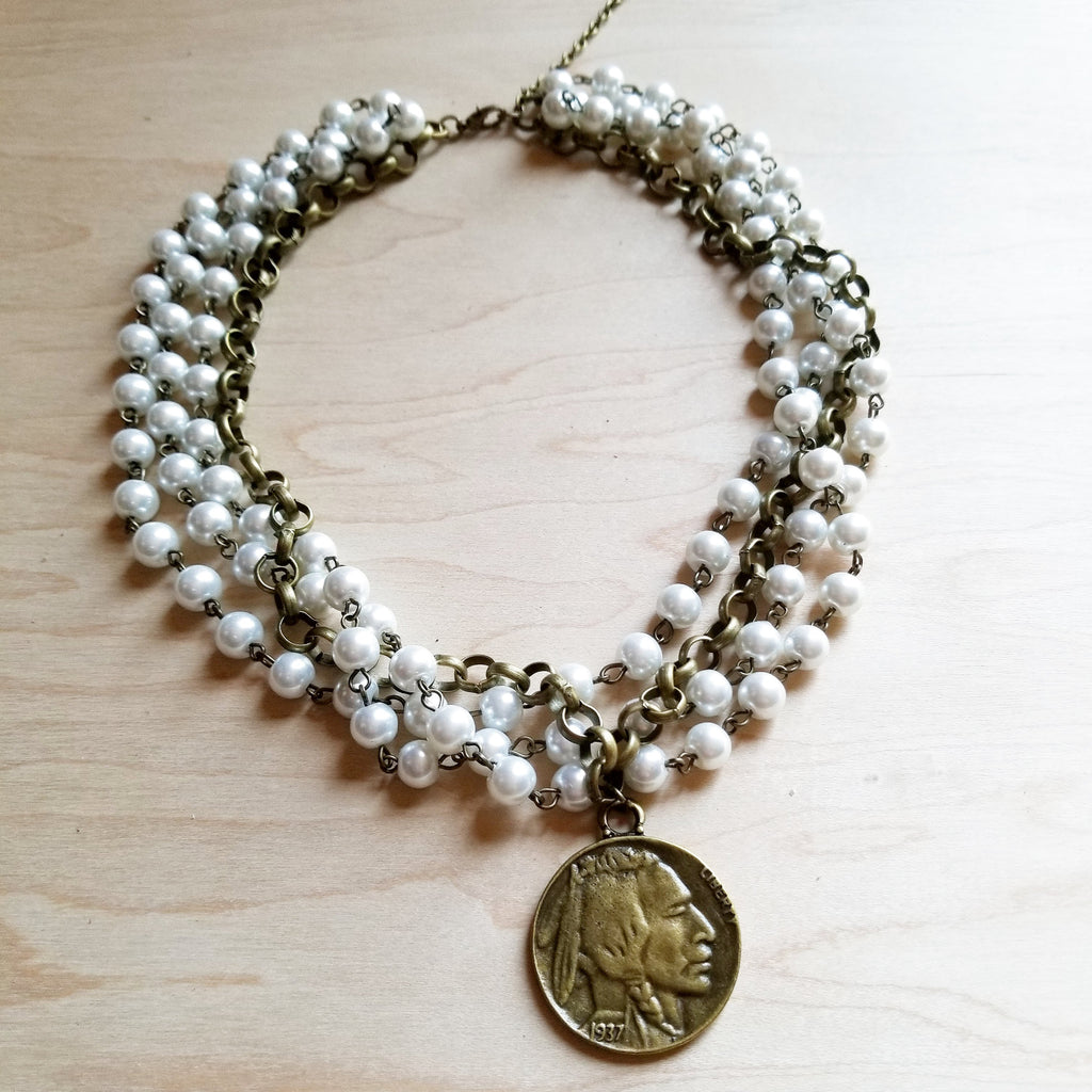 Pearl and Antique Gold Collar-Length Necklace with Indian Coin 245e - The Jewelry Junkie