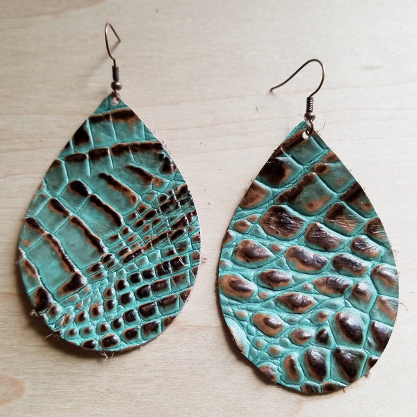 Leather Teardrop Earrings-Brown and Turquoise Gator 217w - The Jewelry Junkie