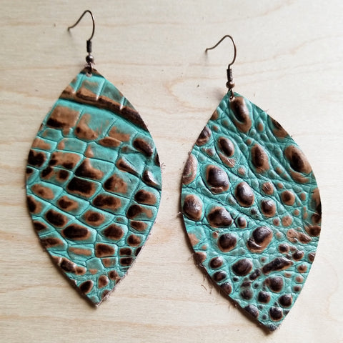 Leather Oval Earrings in Brown and Turquoise Gator Leather 217x - The Jewelry Junkie