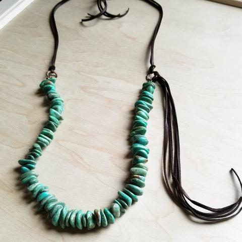 Natural Turquoise Necklace with Leather Tassel Side Tie 245c - The Jewelry Junkie