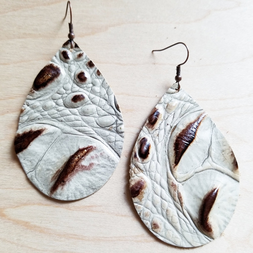 Leather Teardrop Earrings-Brown and Cream Gator 217y - The Jewelry Junkie