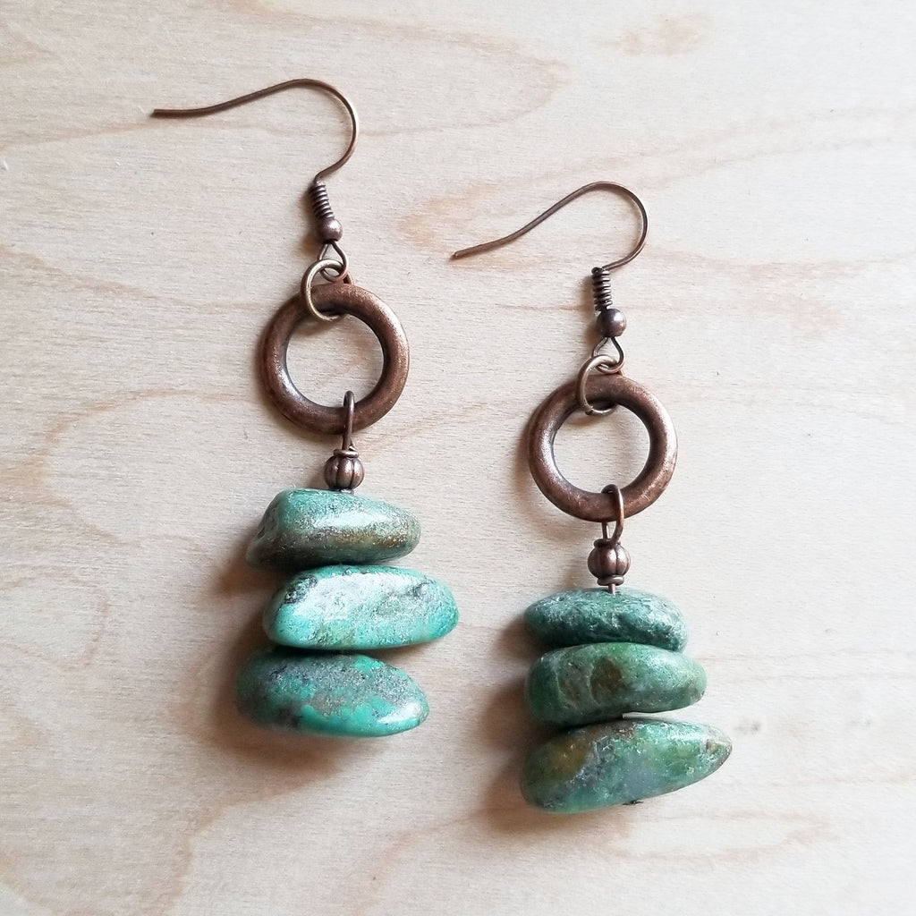 Natural Turquoise Stacked Gemstone Earrings 245q - The Jewelry Junkie