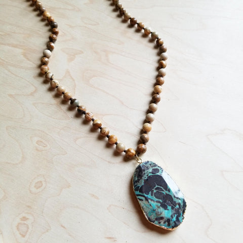 Bohemian Natural JASPER Beaded Necklace with Ocean Agate Pendant 245u - The Jewelry Junkie