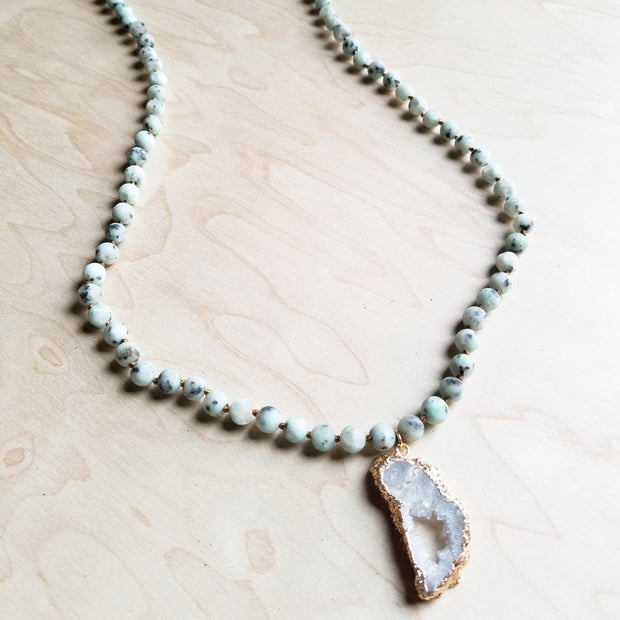 Frosted Sesame Jasper Necklace with White Druzy Pendant 245r 1
