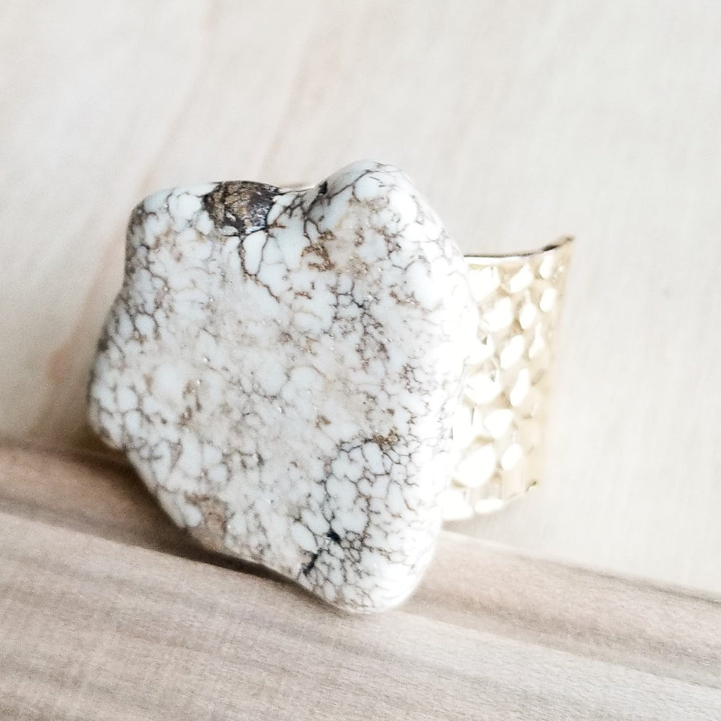 Chunky White Turquoise Slab on Hammered Gold Cuff RingBase 012s - The Jewelry Junkie