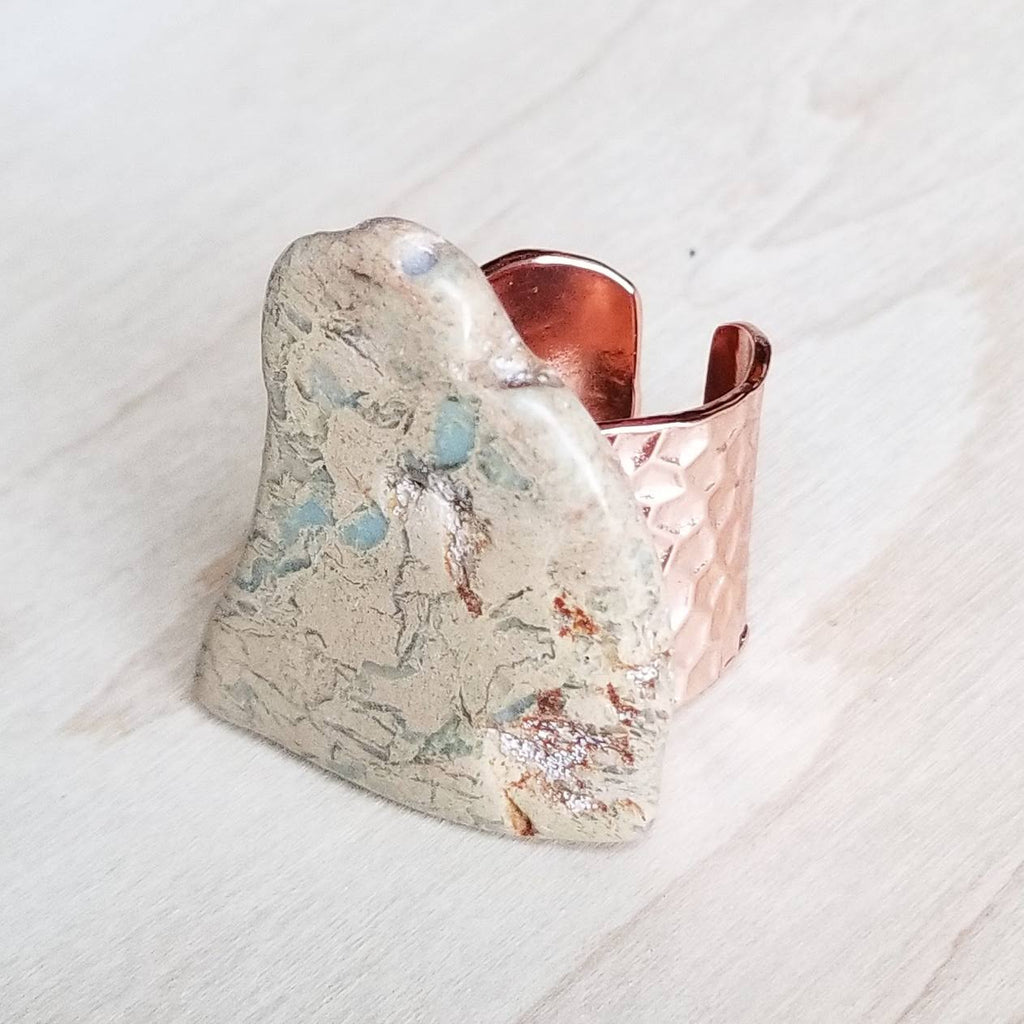 Chunky Aqua Terra Slab on Hammered Copper Cuff Ring Base 012r - The Jewelry Junkie