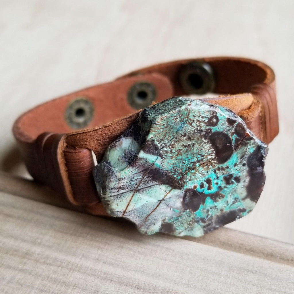 Ocean Agate Slab on Narrow Leather Cuff 005K - The Jewelry Junkie