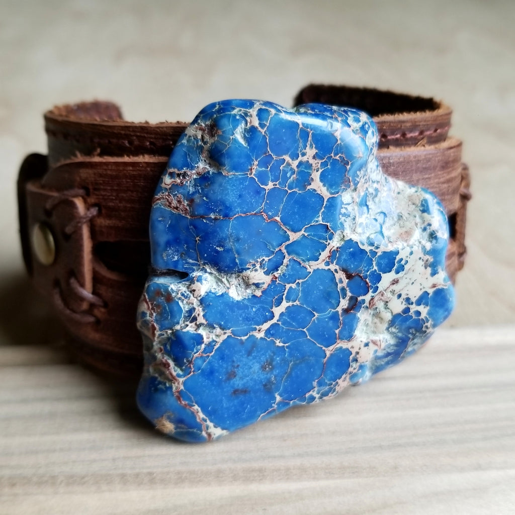 Dusty Leather Wide Cuff with Navy Blue Regalite Slab 007y - The Jewelry Junkie
