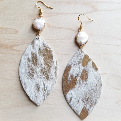 Gold and Cream Hide on Hair Leather Earring with Freshwater Pearl Connector 219w - The Jewelry Junkie
