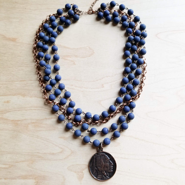 Frosted Blue Lapis Collar-Length Necklace with Copper Indian Head Coin 247b 1