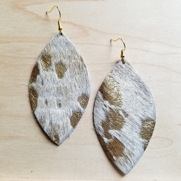 Leather Oval Earrings-Cream and Gold Hair on Hide 220a 1