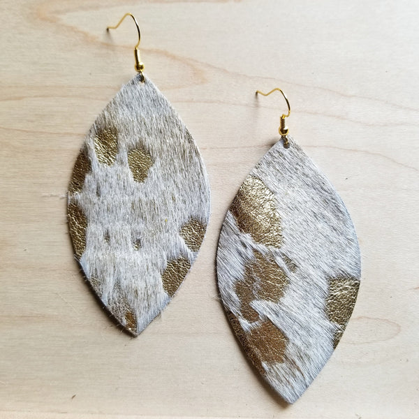 Leather Oval Earrings-Cream and Gold Hair on Hide 220a - The Jewelry Junkie