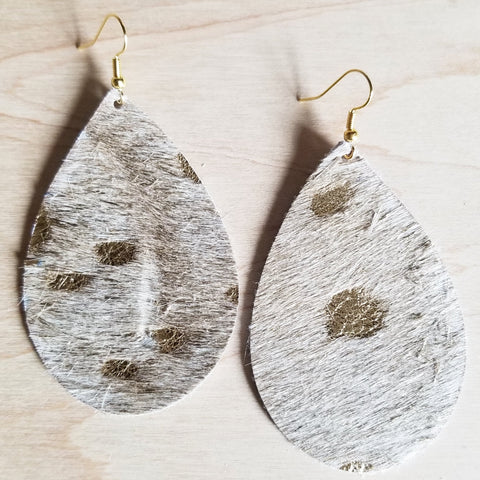 Leather Teardrop Earrings-Cream and Gold Hair On Hide 221i - The Jewelry Junkie