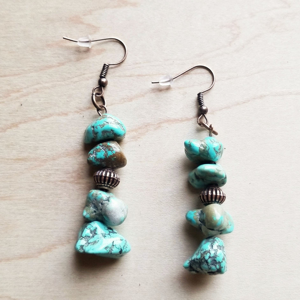 Stacked Turquoise and Copper Earrings 219f - The Jewelry Junkie