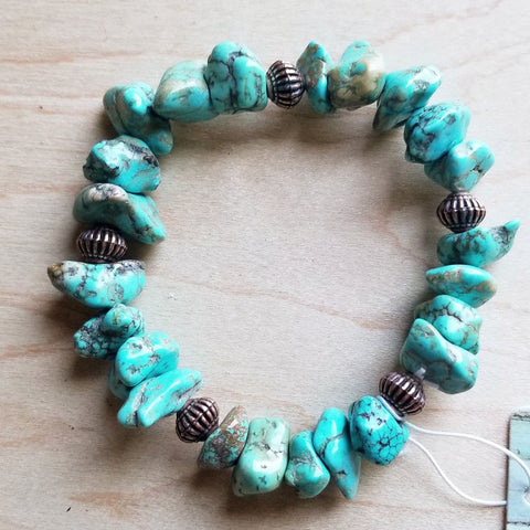 Turquoise and Silver Beaded Stretch Bracelet 802f - The Jewelry Junkie