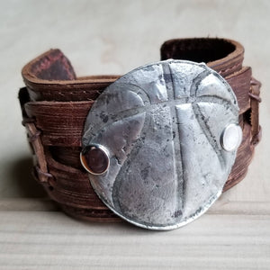 **Molten Metal Basketball Distressed Leather Cuff 008e