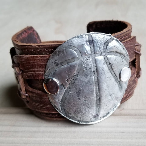 Molten Metal Basketball Distressed Leather Cuff 008e - The Jewelry Junkie