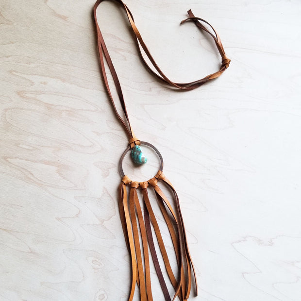 Tan Leather Dream Catcher Necklace with Turquoise Chunk 246t 1