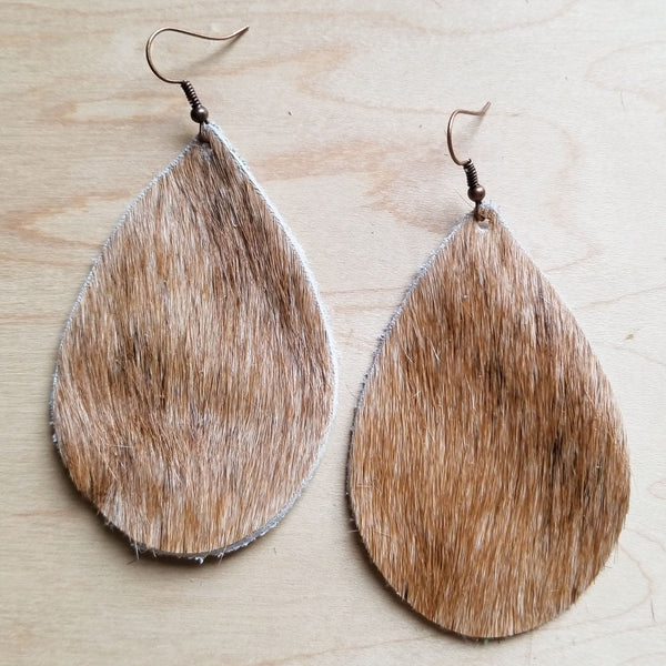 Leather Teardrop Earrings Tan and White Hair-on-Hide 222d - The Jewelry Junkie
