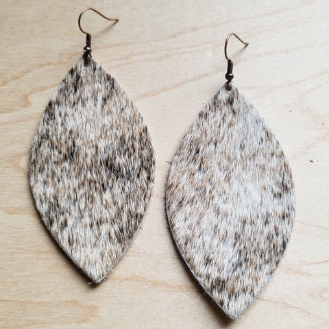 Leather Oval Earrings in Tan, Brown, White Hair-on-Hide 222e - The Jewelry Junkie