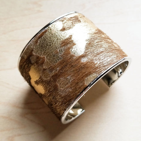 Hair-on-Hide Tan and Gold Metallic Leather Cuff Bangle Bracelet 008q - The Jewelry Junkie