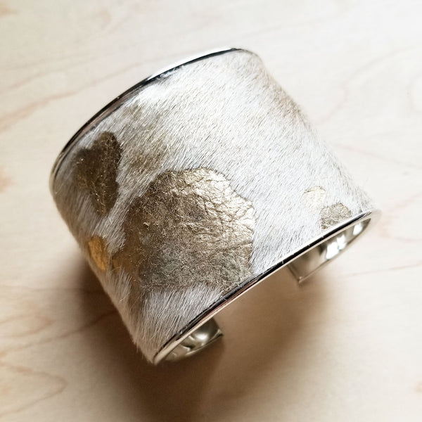 Hair-on-Hide Gold and Cream Metallic Leather Cuff Bangle Bracelet 008c - The Jewelry Junkie