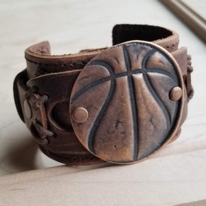 **Copper Molten Metal Basketball Distressed Leather Cuff 009a