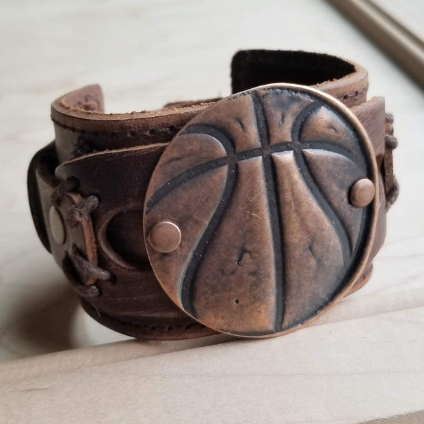 **Copper Molten Metal Basketball Distressed Leather Cuff 009a 1