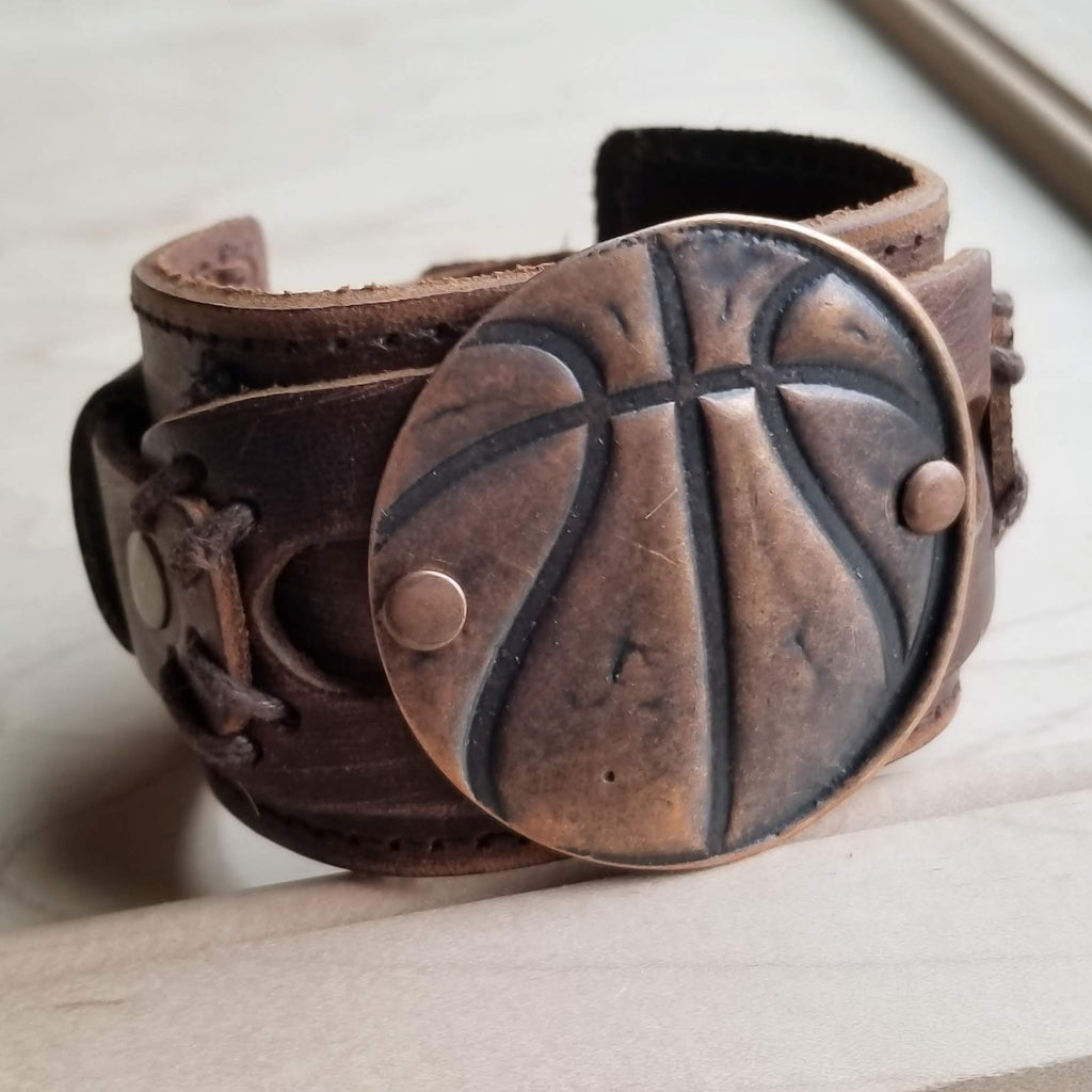 Copper Molten Metal Basketball Distressed Leather Cuff 009a - The Jewelry Junkie