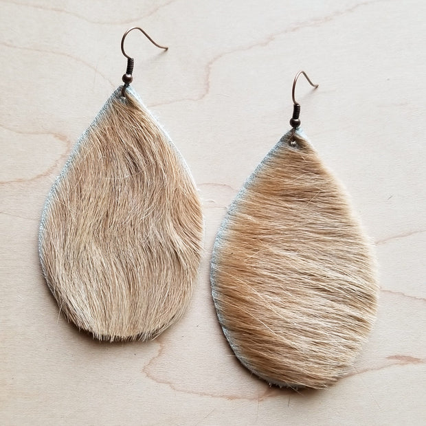 Leather Teardrop Earrings in Hair on Hide Light Brindle 222s 1