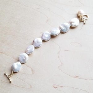 Freshwater Pearl Coin Bracelet with KC Gold Findings 243ee