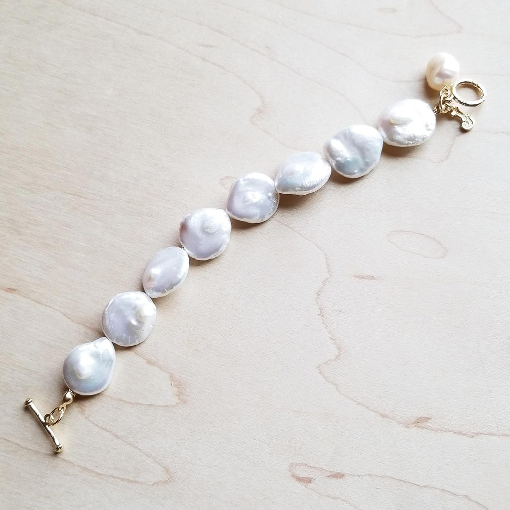 Freshwater Pearl Coin Bracelet with KC Gold Findings 243ee - The Jewelry Junkie